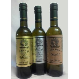 Herbal Garlic Infused Olive Oil 375 ml, 12.68 fl oz - Lemon Oregano Infused Olive Oil 375 ml, 12.68 fl oz - Extra Virgin Olive Oil 375 ml, 12.68 fl oz
